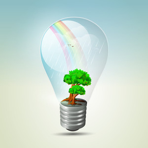Save The Energy Concept With Plant Growing Inside The Electric Bulb
