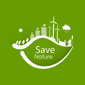 Save The Nature Cocept With Green Leaves