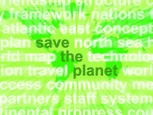 Save The Planet Words In Green Showing Recycling And Eco Friendly