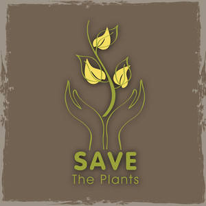 Save The Plants Concept With Human Hands Holding Plant On Vintage Background