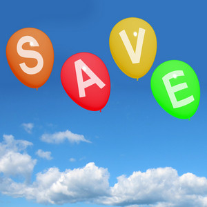 Save Word On Balloons As Symbol For Discounts Or Promotion