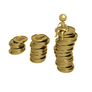 Savings Coins And Man
