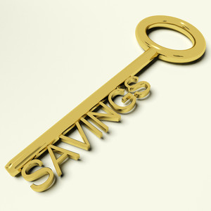 Savings Key Representing Money And Investment