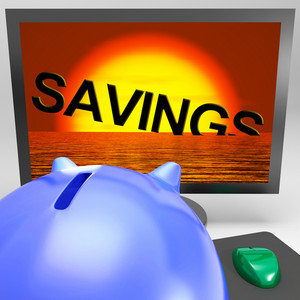 Savings Sinking On Monitor Showing Monetary Loss