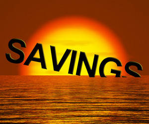 Savings Word Sinking Showing Reduction In Money Or Wealth