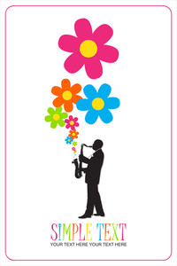 Saxophonist With Flowers Vector Illustration.