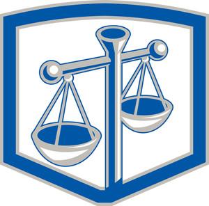 Scales Of Justice Shield Retro