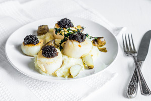 Scallops With Black Caviar