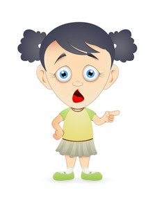 Scared Cartoon Girl Character Vector