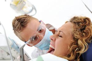 Scared female at hospital, visiting dentist