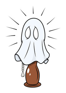 Scared Ghost Hidden In Night Lamp - Halloween Vector Illustration