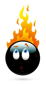 Scared Smiley With Fire Vector