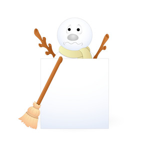 Scared Snowman With Broom And Blank Banner