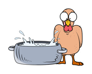 Scared Turkey Bird With Water Basket