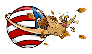 Scared Turkey Running Around America Globe