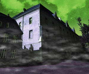 Scary Building Green Background