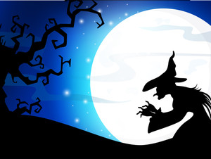 Scary Full Moon Night Background With Dead Tree And Halloween Background.