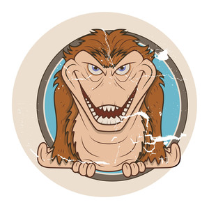 Scary Gorilla Monster Vector In Vintage Style Sticker