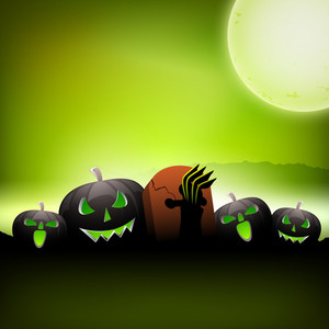 Scary Halloween Night Background With Pumpkins.