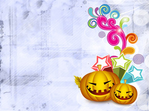 Scary Halloween Pumpkins On Retro Floral Background