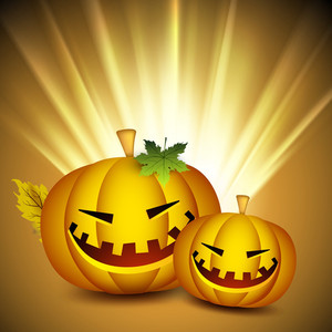 Scary Halloween Pumpkins On Shiny Rays Background