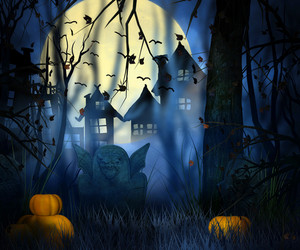 Scary Night Halloween Backdrop