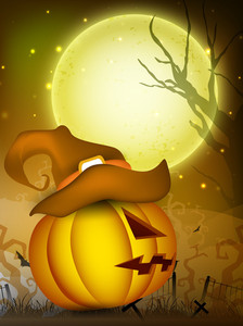 Scary Pumpkin Wearing Witch Hat In The Halloween Night