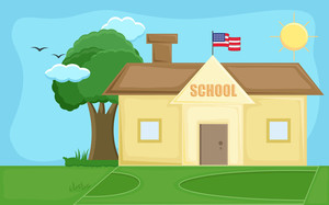 School - Cartoon Background Vector