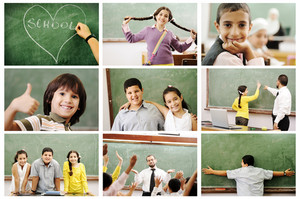 School concept, children and teacher in classroom - collage. Look for more ideas and photos in my portfolio. Thanks