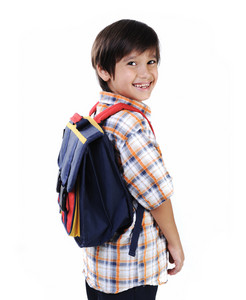 School kid isolated smiling