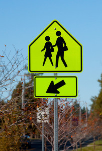 School People Crossing Signboard