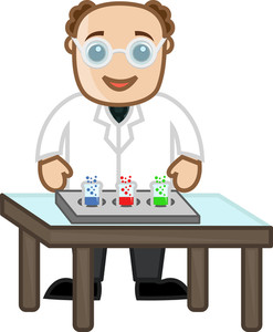 Scientist Exprimentation - Cartoon Office Vector Illustration