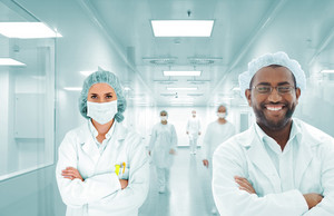 Scientists arabic team at modern hospital lab, group of doctors