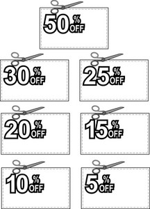 Scissors Cutting Coupon Per Cent Sign