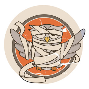 Scratched Sticker Of Mummy Owl - Halloween Vector