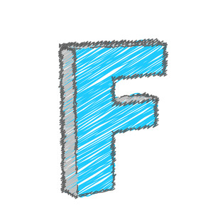 Scribble F Alphabet Vector