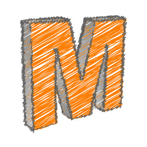 Scribble M Alphabet Vector
