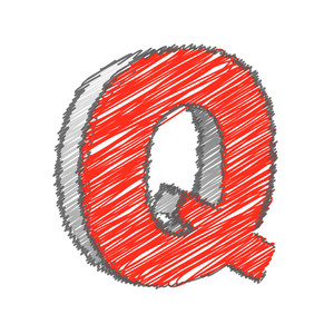 Scribble Q Alphabet Vector