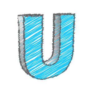 Scribble U Alphabet Vector