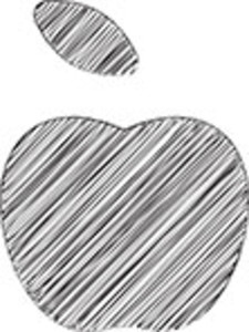 Scribbled Apple On White Background