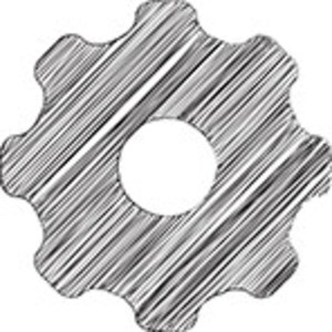Scribbled Black Cog On White Background