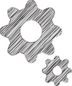 Scribbled Black Cogs On White Background