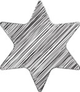 Scribbled Black Star On White Background