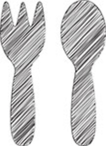 Scribbled Fork And Spoon Icon On White Background
