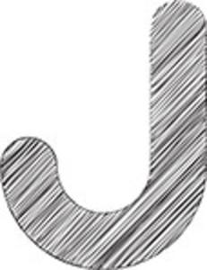 Scribbled J Letter On White Background