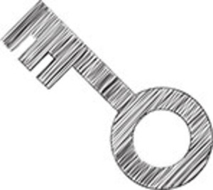 Scribbled Key On White Background