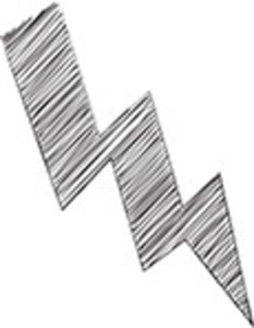 Scribbled Lightning Icon On White Background