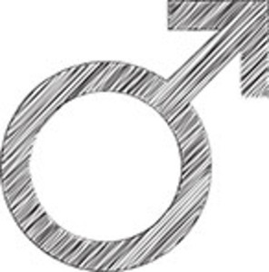 Scribbled Male Sign Icon On White Background