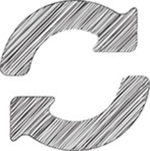 Scribbled Refresh Icon On White Background