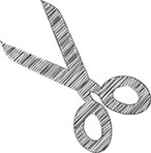 Scribbled Scissor On White Background